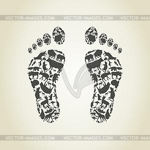 Fuß ein Tier - Vektor-Illustration