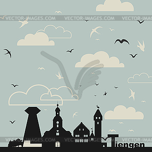 Vögel über Stadt - Stock-Clipart