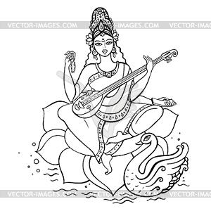 Hindu-Göttin Saraswati - vektorisiertes Clipart