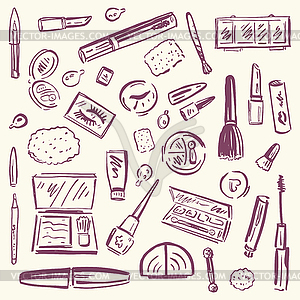Cosmetics. Make-up Set - Vektor-Clipart EPS