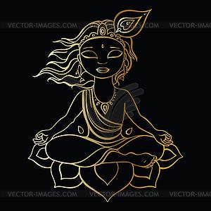 Hindu-Gott Krishna - Vector-Bild