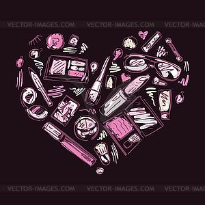 Heart of Make-up-Produkte setzen - vektorisierte Grafik