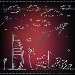 Ägypten. Reisen und Tourismus Hintergrund - Vector-Clipart EPS