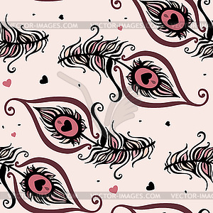 Schöne Pfauenfedern. Nahtlose Hintergrund - Stock Vektorgrafik