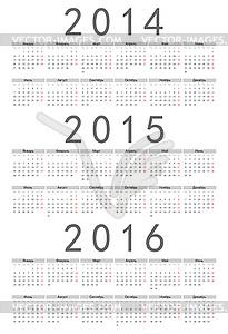 Einfache russische 2014 2015 2016-Jahr-Kalender - Clipart-Bild