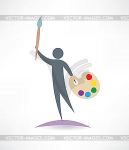 Künstler mit Öl-Symbol - Vektorgrafik-Design
