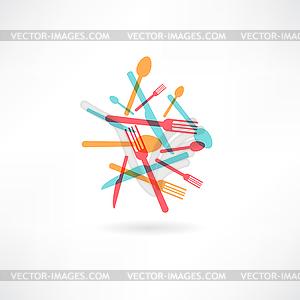 Chaotischen Küche setzt Abstraktion Symbol - Vektorgrafik