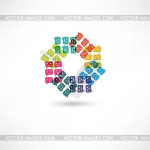 Blase Rede Emotionen Farbe im Kreis - Vector-Abbildung