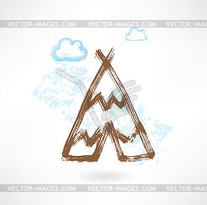 Wigwam Grunge-Ikone - Stock Vektorgrafik