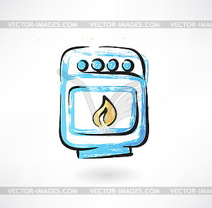 Backofen Grunge-Ikone - Stock-Clipart