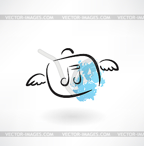 Musik Grunge-Symbol - Vektor-Abbildung