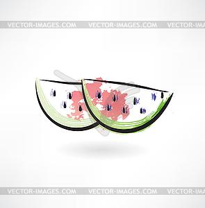 Wassermelone Grunge-Ikone - vektorisierte Grafik