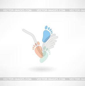 Menschliche Fußabdrücke Symbol - Vector-Illustration