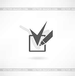 Bleistift und Häkchen-Symbol - Vector-Abbildung
