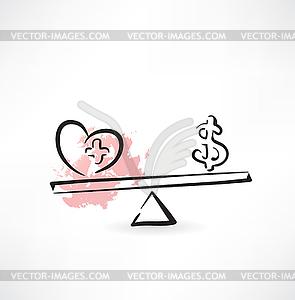 Gesundheit Cash-Balance-Symbol - Vektor-Skizze