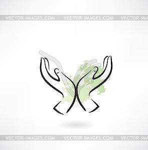 Schützende Hände Ökologie Symbol - farbige Vektorgrafik