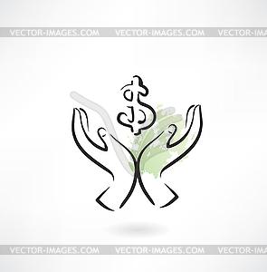 Geld Hand-Symbol - Vector Clip Art