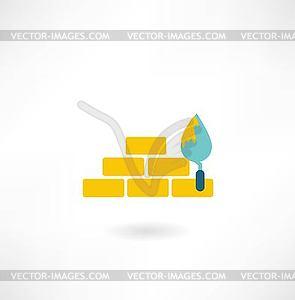 Ziegelsteine mit Kelle Symbol - Vektorgrafik