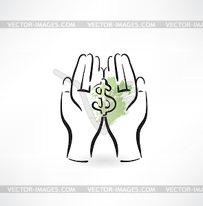 Geld Hand-Symbol - Vektor-Clipart / Vektorgrafik