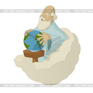 Schaffung Welt durch Gott - Vector-Bild