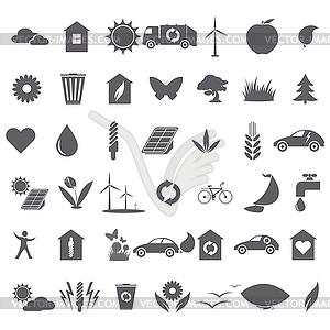 Sammlung von ökologischen Symbole - schwarzweiße Vektorgrafik