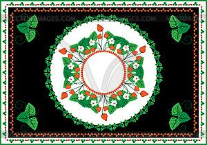Sammlung von Frames und Ornamente mit Erdbeeren ein - Vektor-Clipart / Vektorgrafik
