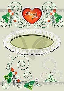 Rahmen aus Erdbeeren und Blumen - Royalty-Free Clipart