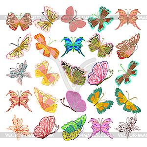 Set mit bunten isoliert realistisch butterflies.Vektor i - Vektor-Clipart EPS