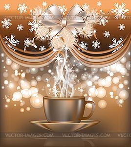 New 2014 Jahr Postkarte mit Kaffeetasse - Vektor Clip Art