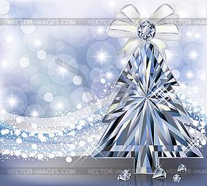 Diamant Weihnachtsbaum Einladungskarte, Vektor- - Vector-Illustration