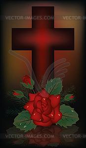 Ostern Banner mit Kreuz und Rose, Vektor-Illustration - Vector-Clipart / Vektor-Bild