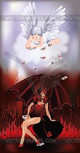 Engel und Teufel Poker zu spielen, Vektor-Illustration - Vektorgrafik