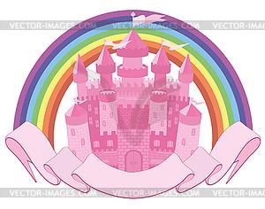 Märchen Zauberschloss und Regenbogen, Vektor- - vektorisiertes Clip-Art