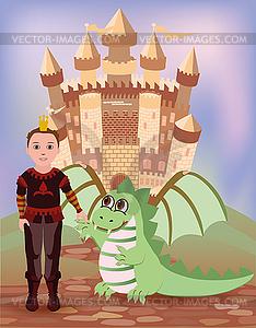 Kleine Prinz und Drache, Vektor-Illustration - Vector-Illustration