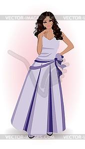 Schöne Frau im violetten Kleid, Vektor-Illustration - Vector-Design