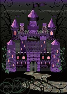 Alte Hexe beängstigend Burg Hintergrund, Vektor-Illustration - Vektor-Illustration