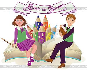 Zurück zur Schule. Kleine Schule Mädchen und Jungen - Vektor-Clipart / Vektor-Bild