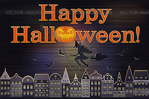 Happy Halloween Postkarte, Vektor-Illustration - Royalty-Free Clipart