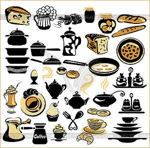 Satz von verschiedenen Essen - Brot, Kuchen, Kekse, - Vektor-Bild