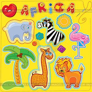 Reihe von Tasten, Comic-Tiere und Wort AFRICA - - farbige Vektorgrafik