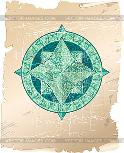 Antik Zier-Windrose auf Pergament Hintergrund - Vektor-Clipart EPS