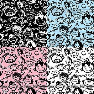 Set von nahtlosen Mustern. Cartoon Gesichter mit - Vektor-Design