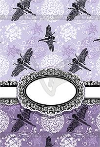 Vertikal-Karte mit Blumen und Libelle. Oval - Vector-Bild