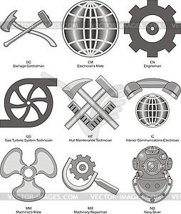 US-Marine Engineering & Hull Bewertungen - Vektor-Clipart EPS