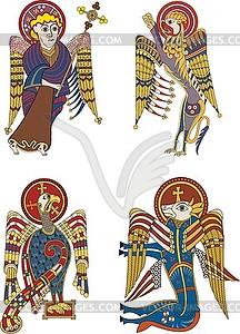 Keltische Symbole der vier Evangelisten - vektorisiertes Clip-Art