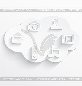 Weiß Cloud-Computing-Symbole - Vektor-Clipart / Vektor-Bild