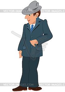Cartoon Mann im grauen Hut und Anzug - vektorisierte Grafik