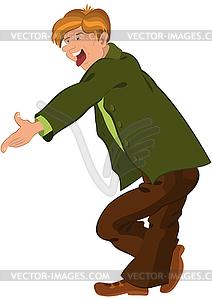 Cartoon-Mann in der grünen Jacke zeigt Zunge - Stock Vektorgrafik