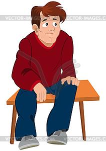 Cartoon Mann im roten Pullover und eine blaue Hose sitzt o - Vector-Clipart EPS