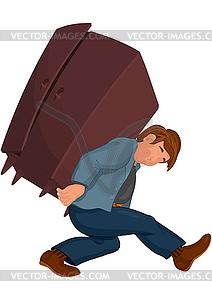 Cartoon-Mann in der grauen Jacke trägt schwere Möbel - Stock-Clipart